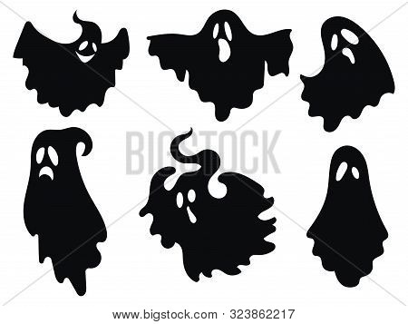 Set Of Ghosts. Collection Of Ghosts For Halloween. Stylized Mystical Creatures. Silhouettes Of Souls