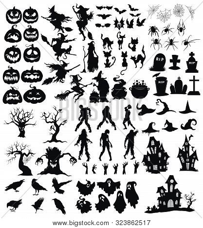 Set Of Elements For Halloween. A Collection Of Black Silhouettes Of Mystical Creatures. Vector Illus
