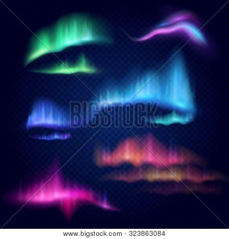 Northern Lights, Aurora Borealis, Vector Isolated Illustration