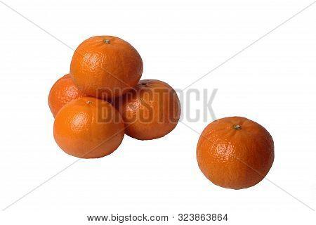 Isolated Of Mandarin Honey Murcott Oranges  From Australia On White Background.