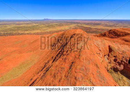 Uluru, Northern Territory, Australia - Aug 23, 2019: Aerial View From The Top Of Uluru-kata Tjuta Na