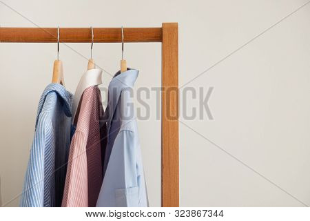 Dry Clothes Hang On Clothes Rack, Front View.