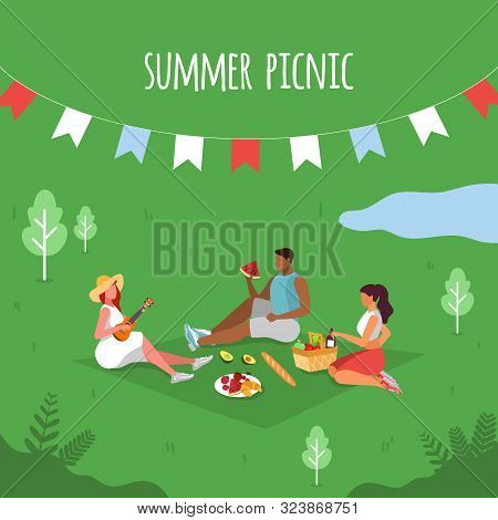 Summer Picnic. People On A Picnic.picnic Party. Vector