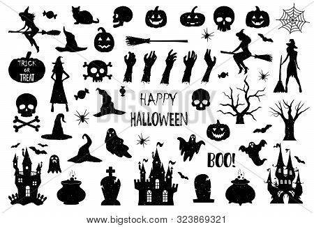 Halloween Icons Silhouettes. Halloween Icons. Vintage Texture Effect. Happy Halloween. Vector