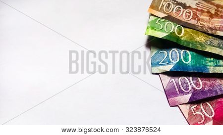 Nairobi,kenya - September 18: Bank Notes Of Kenya With Different Values On One Side And On White Tak
