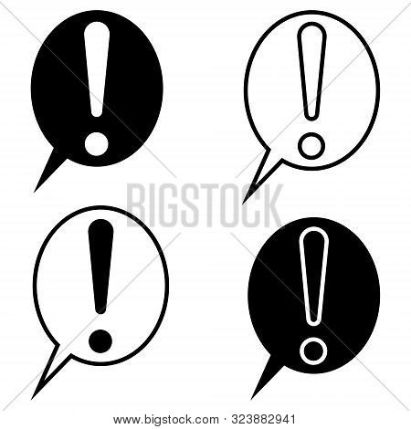 Exclamation Mark Speech Bubble Chat, Vector Set Exclusion Point Symbol Of Attention, Emphasis And Da