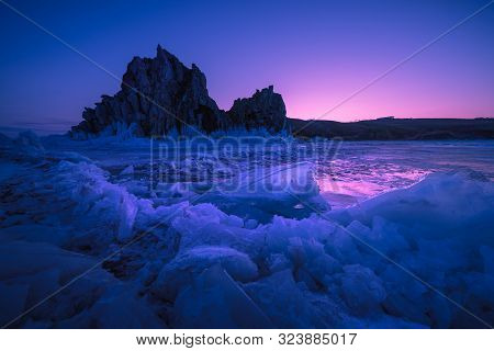 Landscape View Of Baikal Lake Winter With Colorful Sunset Sky Background, Shamanka Cape, Burkhan Isl