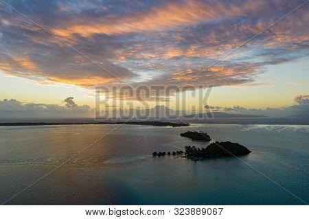 Sunrise At Bora Bora Island, Tahiti, French Polynesia (bora Bora Aerial)