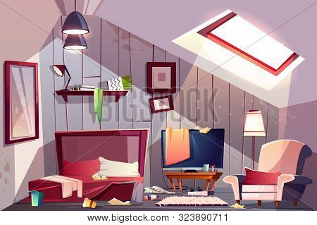 Messy Attic Bedroom Or Guest Room On Garret Interior With Scattered Clothes, Stained Walls And Spide