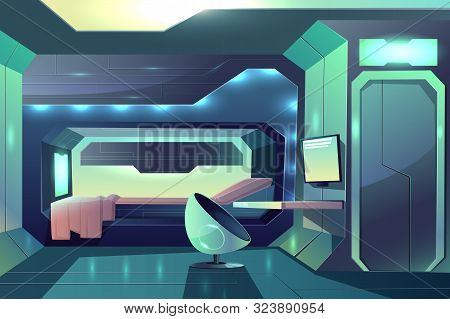 Future spaceship crew member personal cabin minimalistic interior with neon ambient light, bed in sleeping block and futuristic armchair in front of desk with monitor cartoon illustration poster