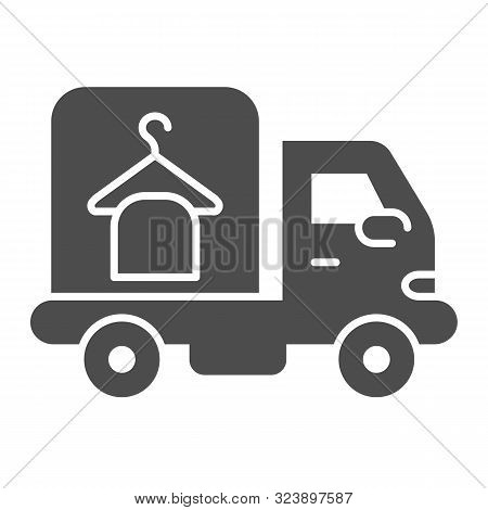 Laundry Service Car Solid Icon. Delivery Laundry Vector Illustration Isolated On White. Laundry Serv