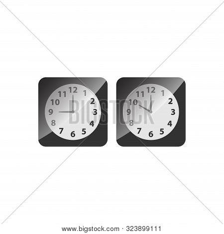 Alarm Analog Clock Black Square Icon Set. Clock With Nine And Ten O Clock, Black Glossy Vector.