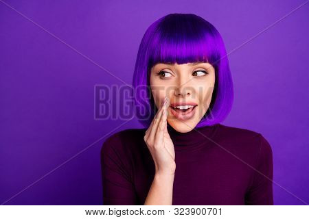 Close Up Photo Of Charming Youth Speaking Mysteries Wearing Turtleneck Isolated Over Purple Violet B