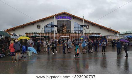 Munich, Germany, September 23, 2019: Lowenbrau Tent In Oktoberfest 2019 In Theresienwiese Area, Muni