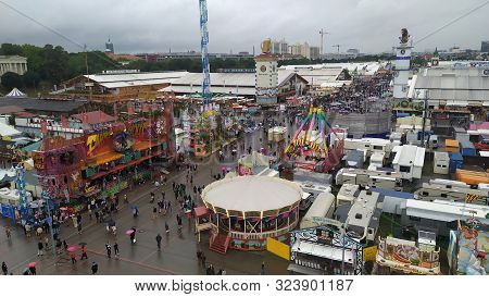 Munich, Germany, September 23, 2019: People From All Over The World In Oktoberfest 2019 In Munich, G