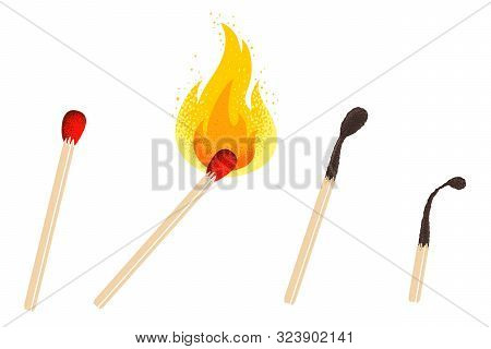 Vector Retro Illustration Of A Match With Fire. Vintage Icon Of Different Match With Flame. Vector S