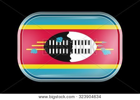 Flag Of Eswatini. Matted Vector Icon. Vector Rectangular Shape