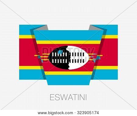 Flag Of Eswatini. Flat Icon Waving Flag With Country Name On White