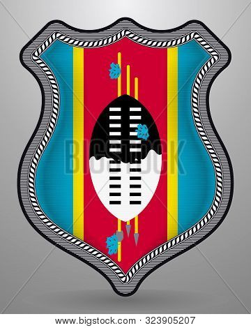 Flag Of Eswatini. Vector Badge And Icon. Vertical Orientation Version