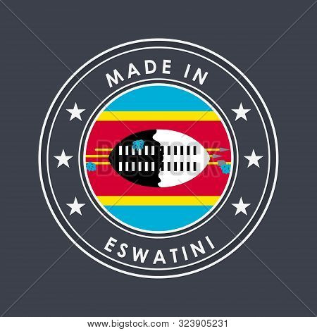 Flag Of Eswatini. Round Label With Country Name For Unique National Goods. Vector