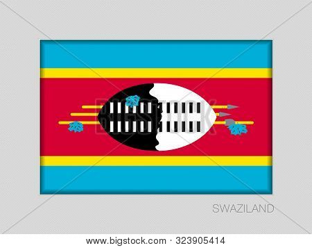 Flag Of Swaziland. Eswatini. National Ensign Aspect Ratio 2 To 3 On Gray Cardboard