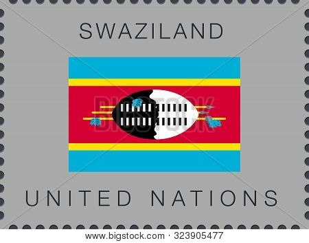 Flag Of Swaziland. Eswatini. Vector Sign And Icon. Postage Stamp