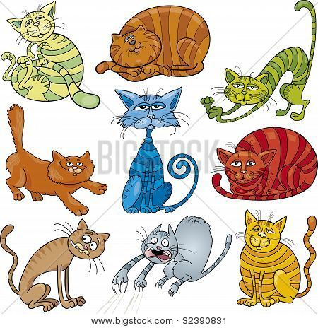 poster of cartoon illustration of funny nine cats set