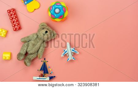 Table Top View Decoration Kid Toys For Develop Background Concept.flat Lay Accessories Baby To Play