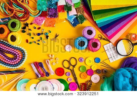 Craft Supplies For Creative Handmade, Top View Set