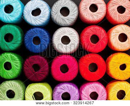 Rainbow Colors Yarn For Knitting. Skeins Of Yarn.