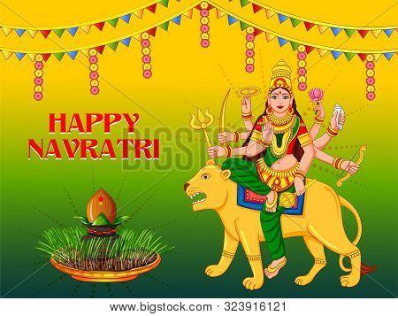 Vector Design Of Goddess Durga For Happy Navratri Dussehra Festival Of India