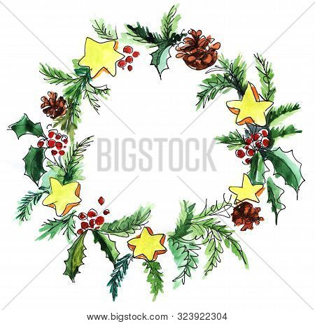 Christmas Wreath. Fir Branches, Cones, Stars, Holly Berries. Round Frame For Text. Decorative Elemen