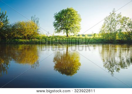 Awesome evening scene in the countryside. Location place river Seret, Ukraine. Picture of a summer view, wallpaper background. Beautiful landscapes, photo of nature. Discover the beauty of earth.