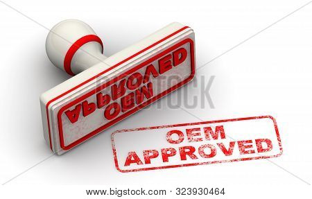 Oem Approved. Seal And Imprint. The Seal With Red Imprint Oem Approved On White Surface. Isolated. 3
