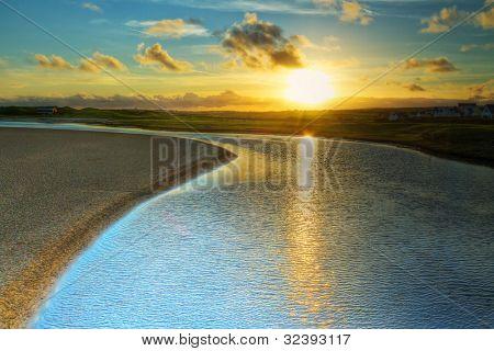 Sunset over Irish coast in Lahinch