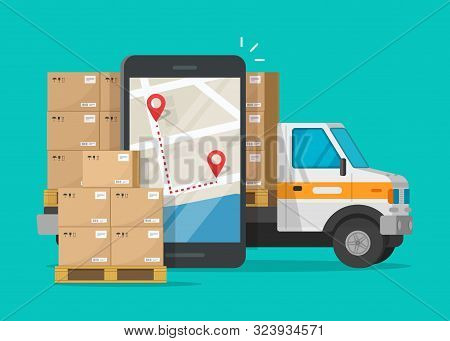 Postal Logistic Service Or Courier Freight Transportation Delivery Vector, Flat Cartoon Cargo Truck