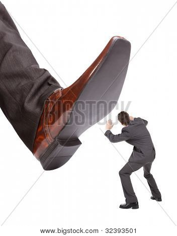 Businessman foot about to stamp out the competition concept for business problems, bullying or hostile take over poster