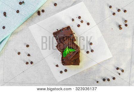 Dark Chocolate And Cocoa Brownie Fudge Cakes Dessert On White Background