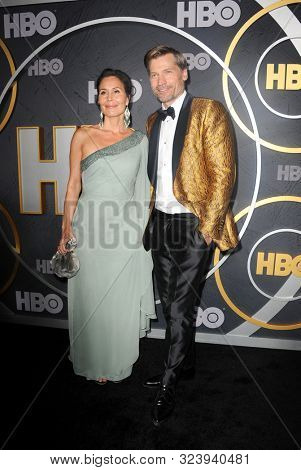 Nukaaka Coster-Waldau and Nikolaj Coster-Waldau at the HBO's Official 2019 Emmy After Party held at the Pacific Design Center in West Hollywood, USA on September 22, 2019.