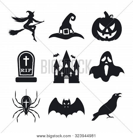 Halloween Icons Set. Pumpkin, Witch, Bat, Witch Hat, Ghost, Spider, Grave, Crow, And Witches Castle.
