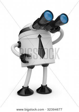 Robot looks in binocular