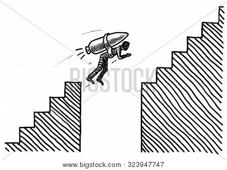 Freehand Pen Drawing Of A Man Attached To A Rocket Overcoming A Gap In A Staircase. Business Metapho