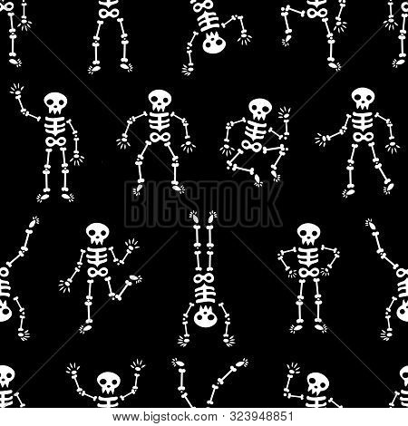 Halloween Dancing Skeletons Seamless Pattern. Funny White Skeletons On The Black Background. Happy H