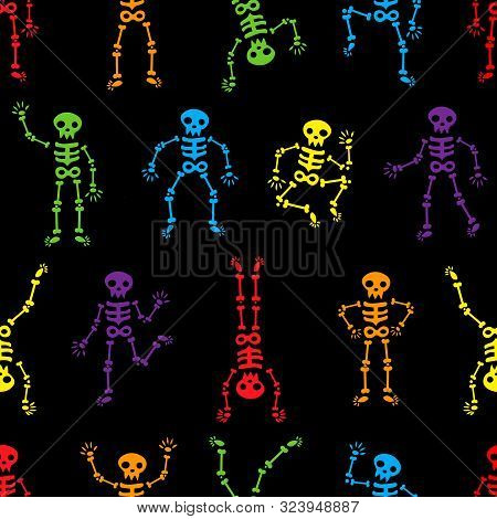 Halloween Dancing Skeletons Seamless Pattern. Funny Colored Skeletons On The Black Background. Happy