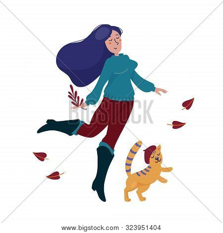 Pretty Young Woman In Sweater, Boots And Skinny Jeans Dancing Happily With Cat In Beret Hat, Fall, A
