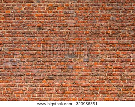 Red Brick Wall Background Texture. Background Of Old Vintage Red Brick Wall. Grunge Red Brick Wall B