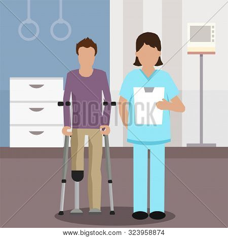 Faceless Doctor And Patient In Rehabilitation Center Flat Cartoon. Specialist Holding Examination Fo