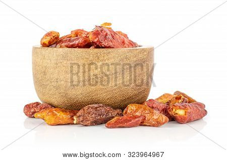 Lot Of Whole Dry Red Chili Pepper Peperoncino In Wooden Bowl Isolated On White Background