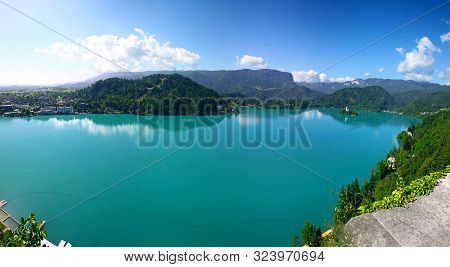 Panoramic Aerial View Of Bled Lake, Julian Alps, Slovenia. The Lake Is Of Mixed Glacial And Tectonic