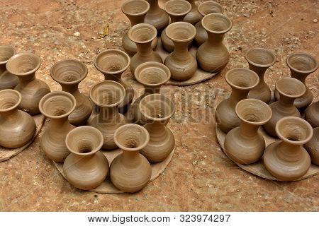 Handmade Terracotta Pots. Clay Pots Before Painting. Craftsmanship.